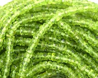 "4mm green peridot heishi beads 14"" strand 35328"