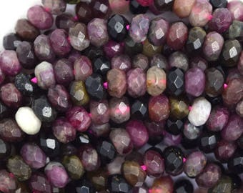 """5mm faceted watermelon tourmaline rondelle beads 15.5"""" strand 36591"""