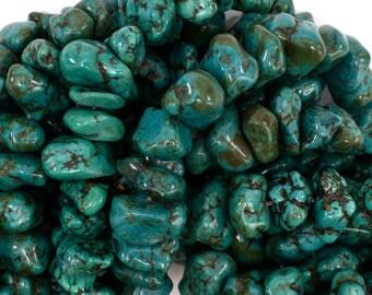 "11-14mm dark green turquoise chip nugget 15.5"" strand 36045"