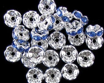 25 8mm silver plated rhinestone rondelle beads saphhire findings 16818