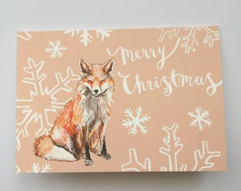 Fox & snowflake Christmas card