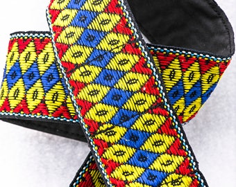 """Vintage Geometric Red, Blue, and Yellow Camera Strap, 36"""" Long, 2"""" Wide, for Canon, Nikon, Pentax, Sony, and Others"""