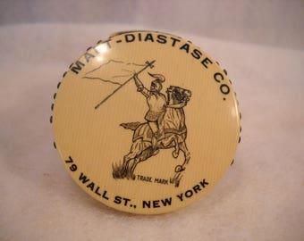 Vintage Malt-Diastase Advertising  Pin Holder