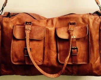Leather Travel Bag, Large leather overnight bag, Leather duffel bag, Leather Luggage, Leather Bag