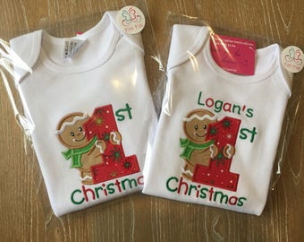 My First Christmas Gingerbread Boy Personalized Bodysuit, Shirt, Bib or Burp Cloth -  My 1st Chritsmas  with Gingerbread Baby Christmas