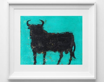 Turquoise bull. Print on paper 200gr. 21x25 centimeters.