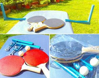 Vintage table tennis set, vintage ping pong set, mancave decor, Dunlop bats, 2 balls, net clamps, vintage games, table tennis, wiff waff,