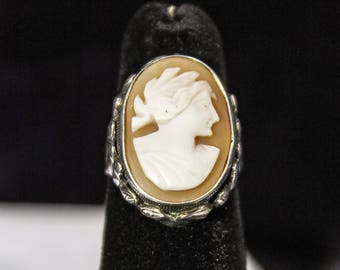 Antique Victorian Sterling Silver Carved Shell Cameo Ring Neoclassical Maiden Art Nouveau