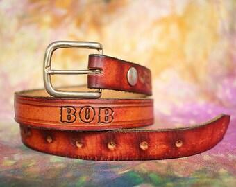Vintage Leather Hand-Tooled Belt w/ Name
