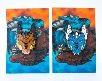 Fire and Water Dragon Hard Enamel Pins