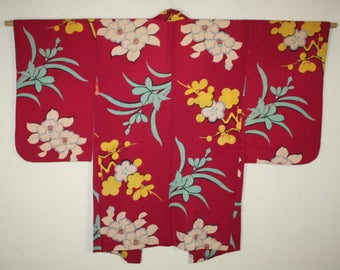 Japanese Vintage camellia plum orchid katazome pattern rinzu silk haori coat