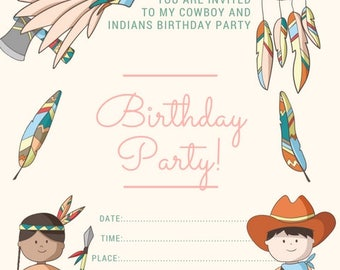 Cowboy and Indian Birthday Invite , birthday party invite
