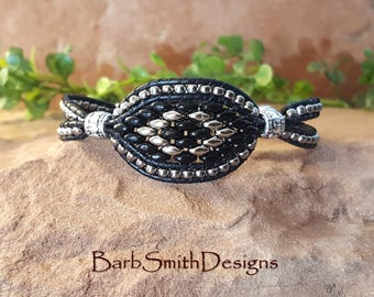 "Black Leather Wrap Bracelet-Beaded Wrap Bracelet-Unique Bracelet-Size 6 3/4"" Available Now-Custom Sizes-Starry-Eyed One in Black n' Silver"