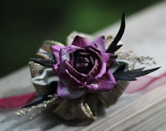Corsage | Dried Flower Wedding Corsage | Prom Corsage | Purple Corsage | Plum Corsage | The Sandy Pat Collection Corsage