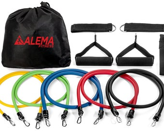 Alema Fitness Resistance Exercise Bands 12 pc Set: 5 bands, 2 handles. For workout, Physical Therapy, Home, Yoga, Pilates, Martial Arts