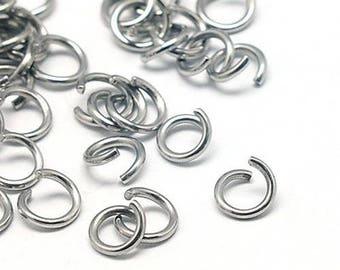 50 jumprings steel stainless 5mm