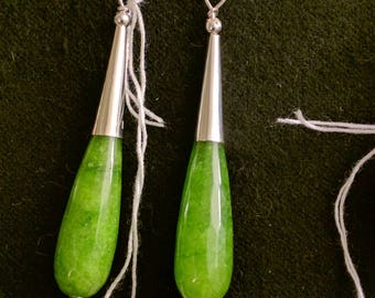 Sterling Silver Green Jade Earrings