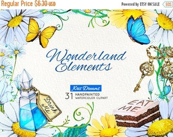 "Sale 50% Off All August Alice in Wonderland Clip Art: ""Watercolor Alice in Wonderland Clipart"" Fairytale Clipart Invitation Scrapbooking Pap"