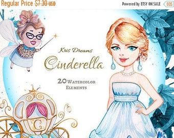 Sale 50% Cinderella Clipart, Watercolor Clipart, Princess Clipart, Pumpkin Carriage Fairy Godmother Mice Scrapbook Fairytale Birthday Invita