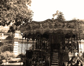 Carousel, Brown Sepia Fine Art Print, Paris Nursery Decor, Sacre Coeur Merry go Round, Carousel Wall art, Square Print