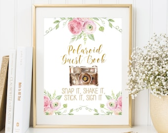 Photo Guest Book Sign Polaroid Guest Book Sign Printable Floral Wedding Photo Guestbook Sign Guest Book Alternative Guest Book Printable