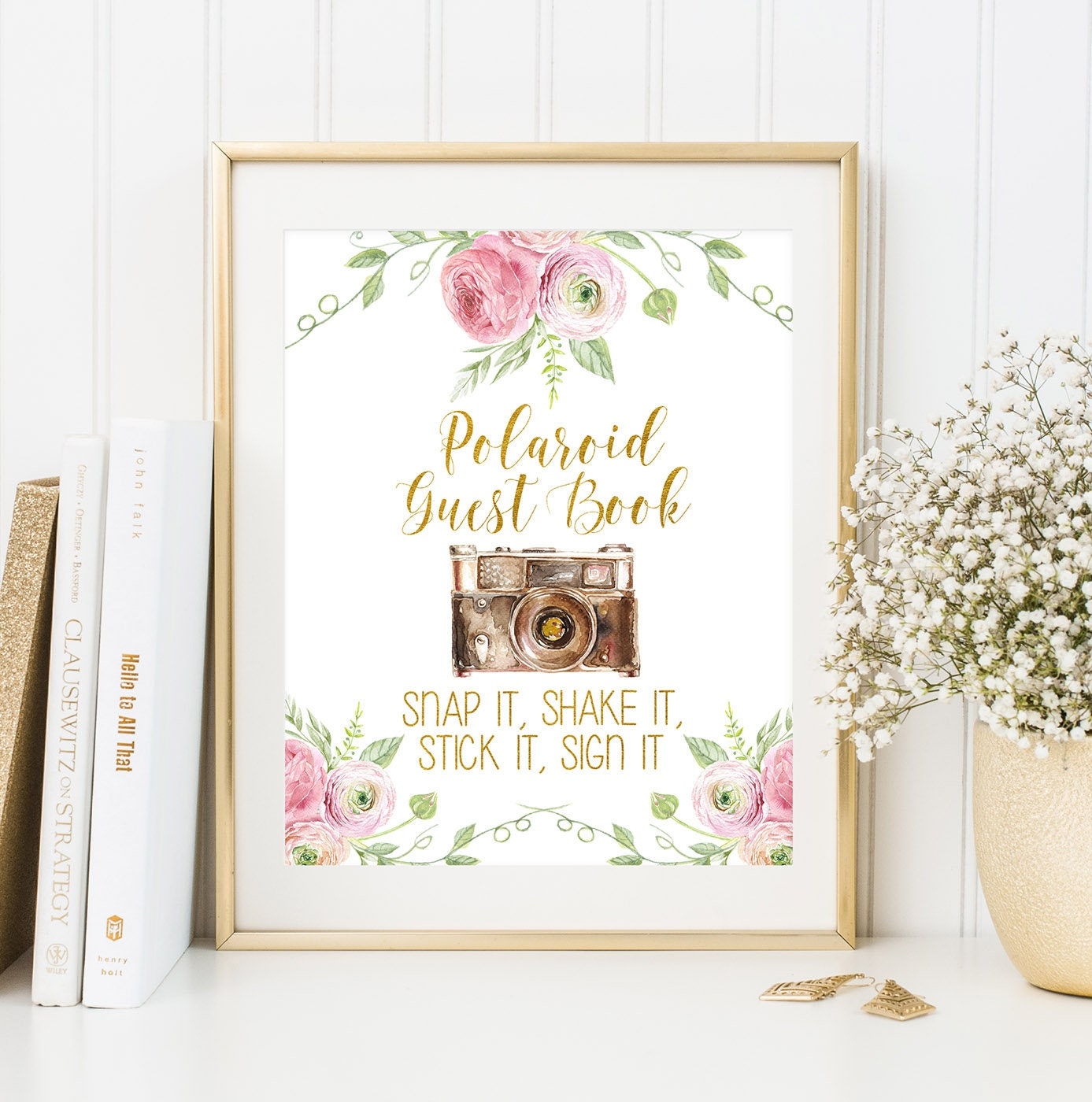 Polaroid Guest Book: Polaroid Guest Book Sign Photo Guest Book Sign Printable
