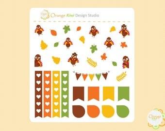 Thanksgiving Planner Stickers, Thanksgiving Mini Kit, Cute Turkey Stickers, Erin Condren Life Planner, Happy Planner, Filofax