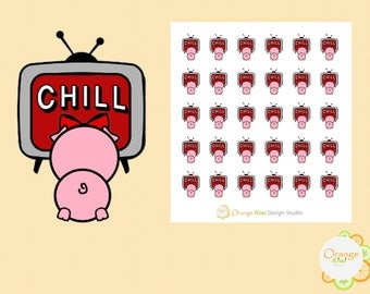 Pig Netflix and Chill Stickers, Movie Night Planner Stickers, Cute Pig Stickers