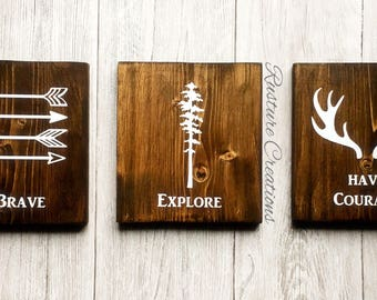 Be Brave, Explore, Have Courage - Set of 3 Hand Painted signs