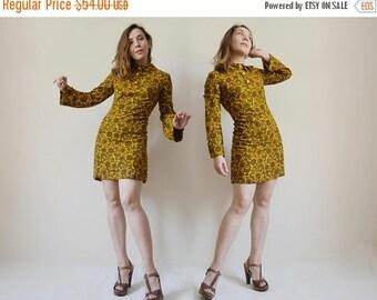 25%SALE Mod Dress 60s Mustard Green Yellow Mini dress Paisley print Peter Pan collar Long bell sleeves Hippie dress Babydoll Dress