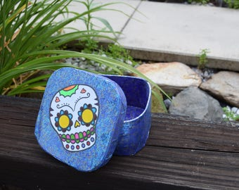 Paper Mache' Sugar Skull Trinket Box