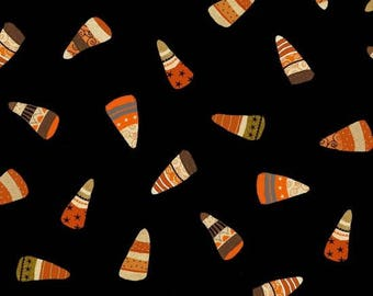 Studio E - Witchy. Black with Candy Corn 3704-99 **Half Yard Cuts**