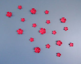 Set of 15 flowers 3D red wall decor