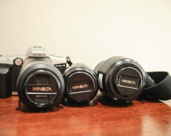 Minolta Dynax 4 SLR 35mm Camera with 28-100mm, 70-210mm, 35-80 Zoom lenses, Strap & Case #316