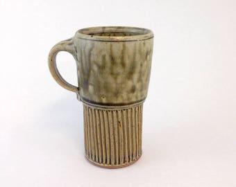Handmade Pottery Travel Mug, Ceramic Coffee Mug, Grey-Green