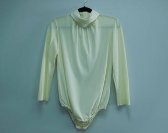 Vintage 1980's Retro Cream Bodysuit with Turtleneck Collar Size Medium