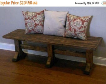 SALE Wooden Bench/ rustic bench/ farmhouse bench/ entry way bench/ bench/ home decor/ gift for her/ housewarming/ pedestal bench