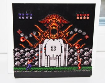 Contra (NES) Video Game Shadow Box with Frame