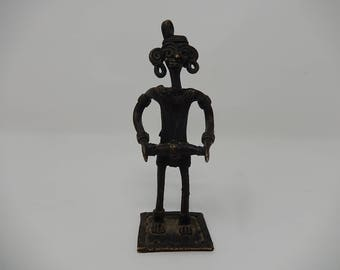 Old Bronze Statuette, African Pigmet, Free Shipping!