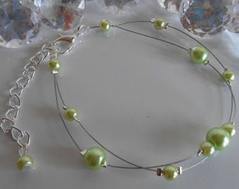 Bracelet wedding 2 rows of lime green pearls
