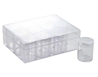 Box with 12 boxes round 160x120x51mm transparent plexiglass