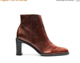 SUMMER33OFF 90s leather rust brown reptile print embossed minimalist structural heel ankle boots US 7.5
