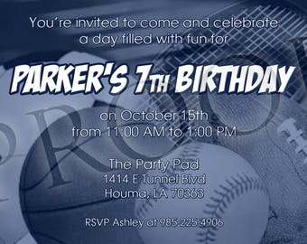 Blue Toned Sports Birthday Invitation