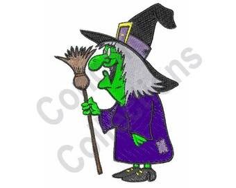 Cartoon Witch - Machine Embroidery Design, Halloween - Machine Embroidery Design