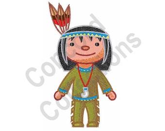 Native American Boy - Machine Embroidery Design, Native American, Boy