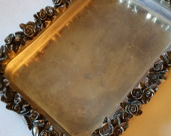 Rose embossed silver plate? tray