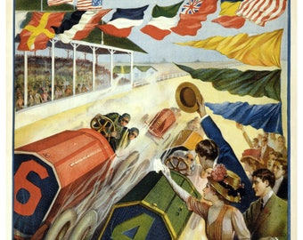 Vintage Indianapolis Motor Speedway Racing Poster Print
