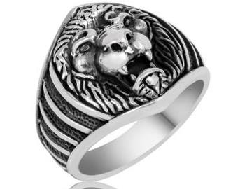 High Quality 925 Sterling Silver Lion Head Men's Ring Animal Rings