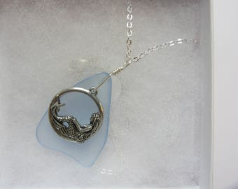 Blue Sea Glass with Mermaid Charm Necklace