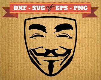 Fichier SVG Anonimous, masque sihouette, des fichiers vectoriels pour camée, anonyme de fichiers Dxf, masque de fichiers DXF, Svg fichiers anonymes
